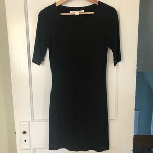 DVF Bodycon Little Black Dress with Short Sleeves